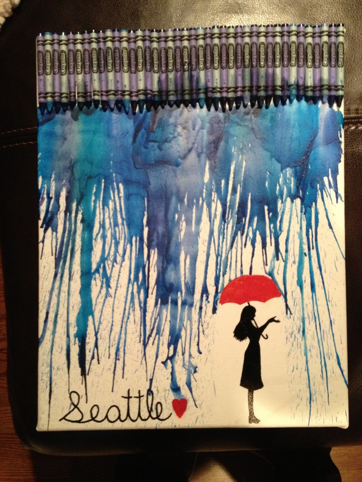 Post-Grad Crafting: Seattle Rainy Day Crayon Art