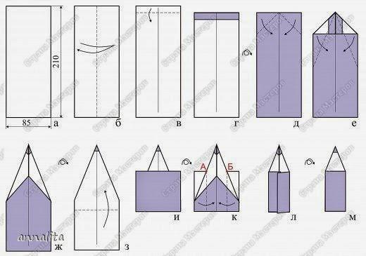 Как сделать из бумаги закладка карандаш