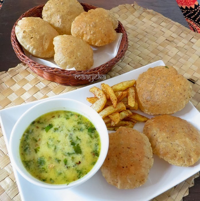 ginger soup and coriander seed poori