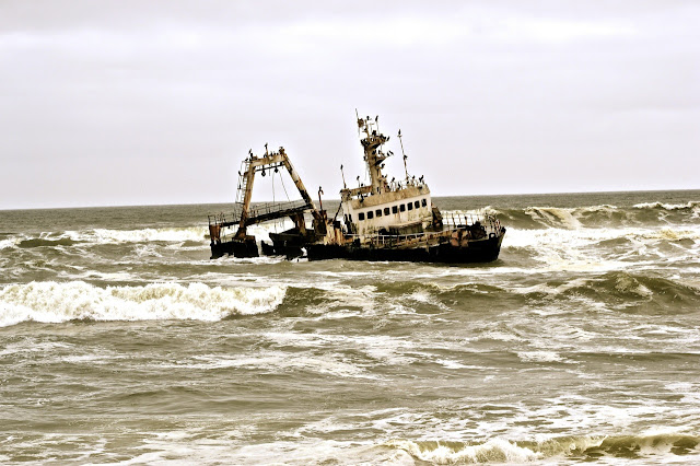 Old shipwreck off the Skeleton Coast, Namibia