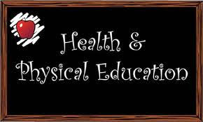 Health and Physical Education written on a chalkboard with a picture of an apple