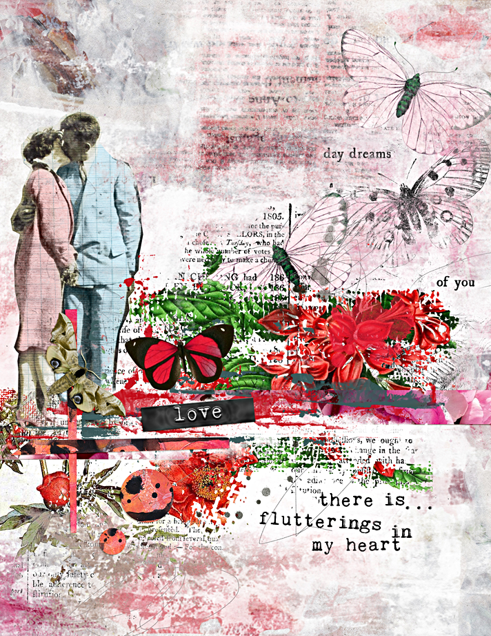 There is... flutterings in my heart | digital Valentine mixed media art journal page using Sissy Sparrows' new release at The Lilypad