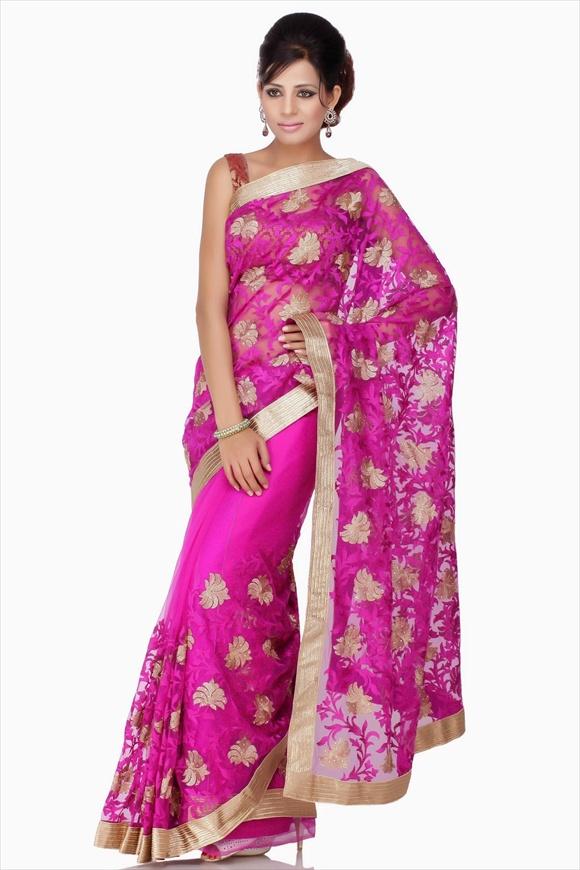 Bright Violet Net Saree