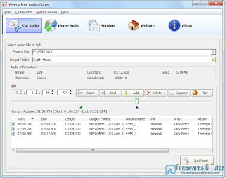 Weeny free audio cutter un logiciel gratuit pour couper et fusionner les fichiers audio - Couper un fichier audio en ligne ...