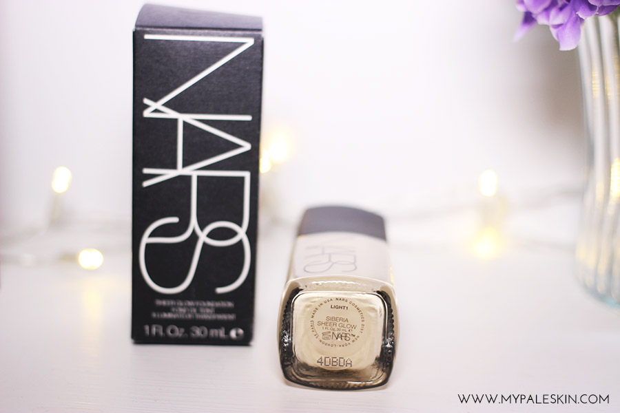 Nars sheer glow, siberia, light 1, pale skin, foundation for pale skin, swatch, my pale skin, blog, review