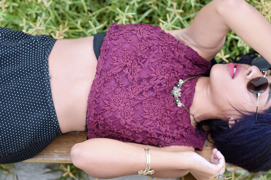 Indie Fashion Blogger Anais Alexandre of Down to Stars dyes her hair dark purple and wears vintage in Wynwood Miami