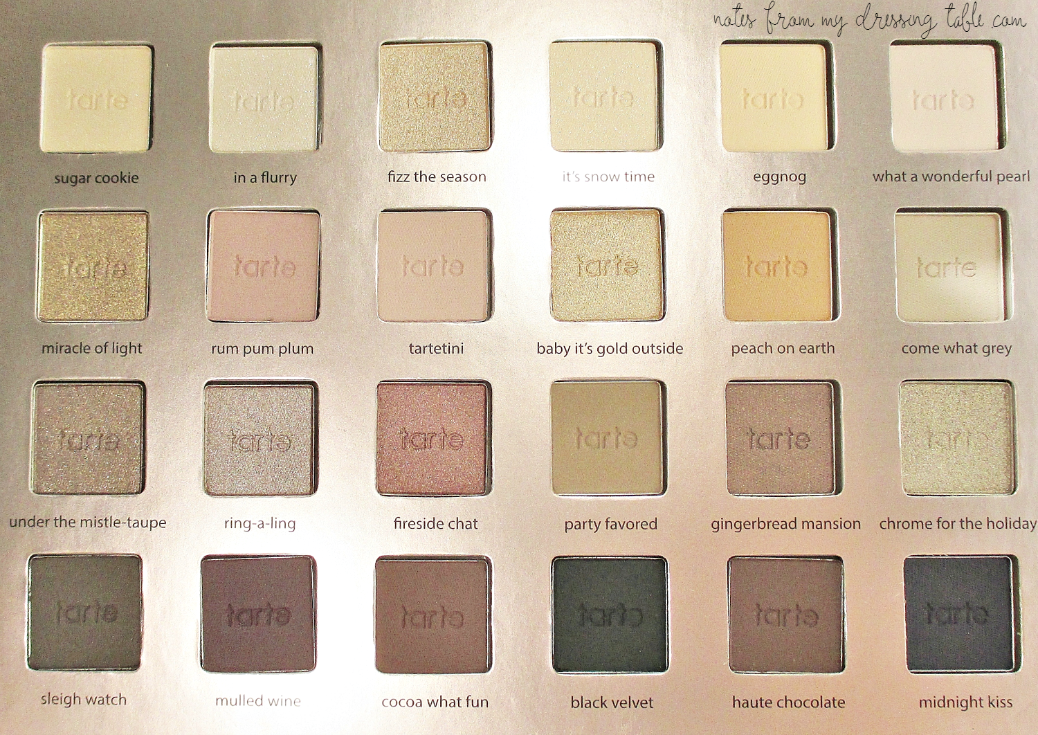 Tarte Light of the Party Collectors Makeup Case Twenty Four Eye Shadows notesfrommydressingtable.com