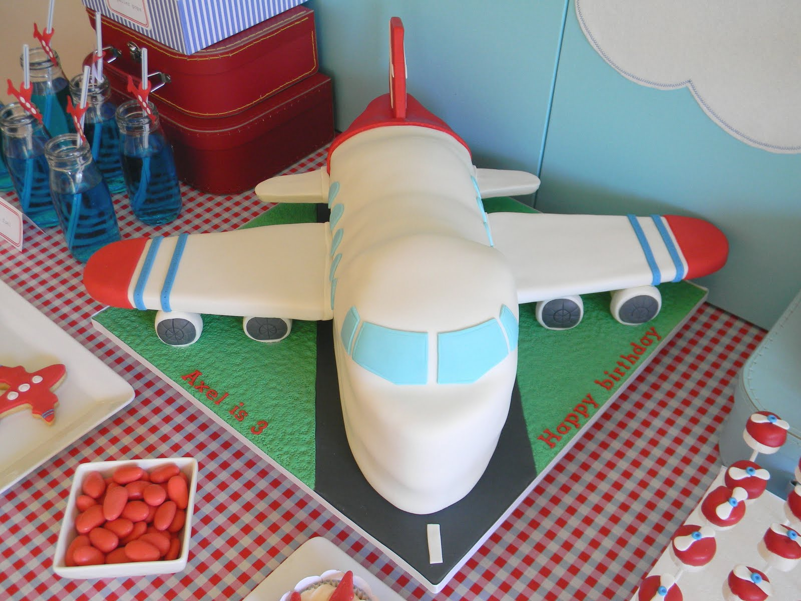 Just call me Martha Axels airplane birthday cake cookies pops