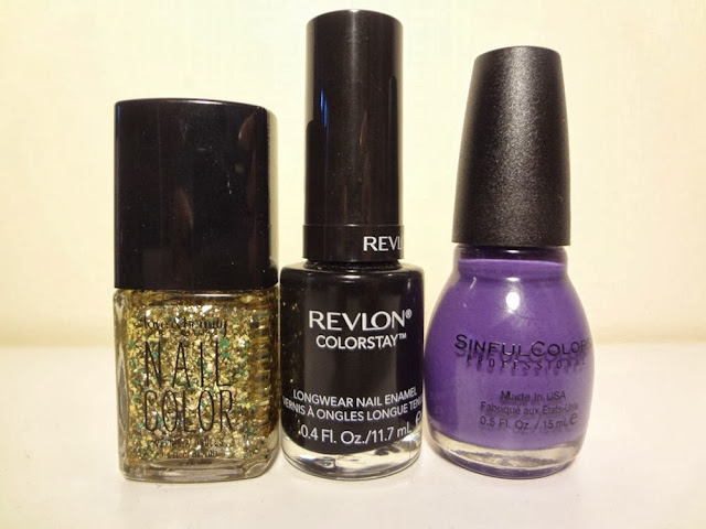 gold/green by love & beauty, stiletto by revlon colorstay, amethyst by sinful colors
