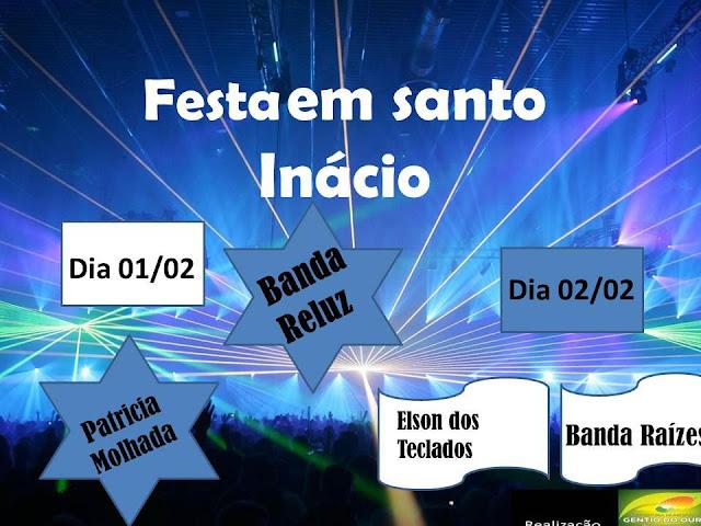 PROGRAMAÇÃO DA FESTA DE SANTO INÁCIO 2013: