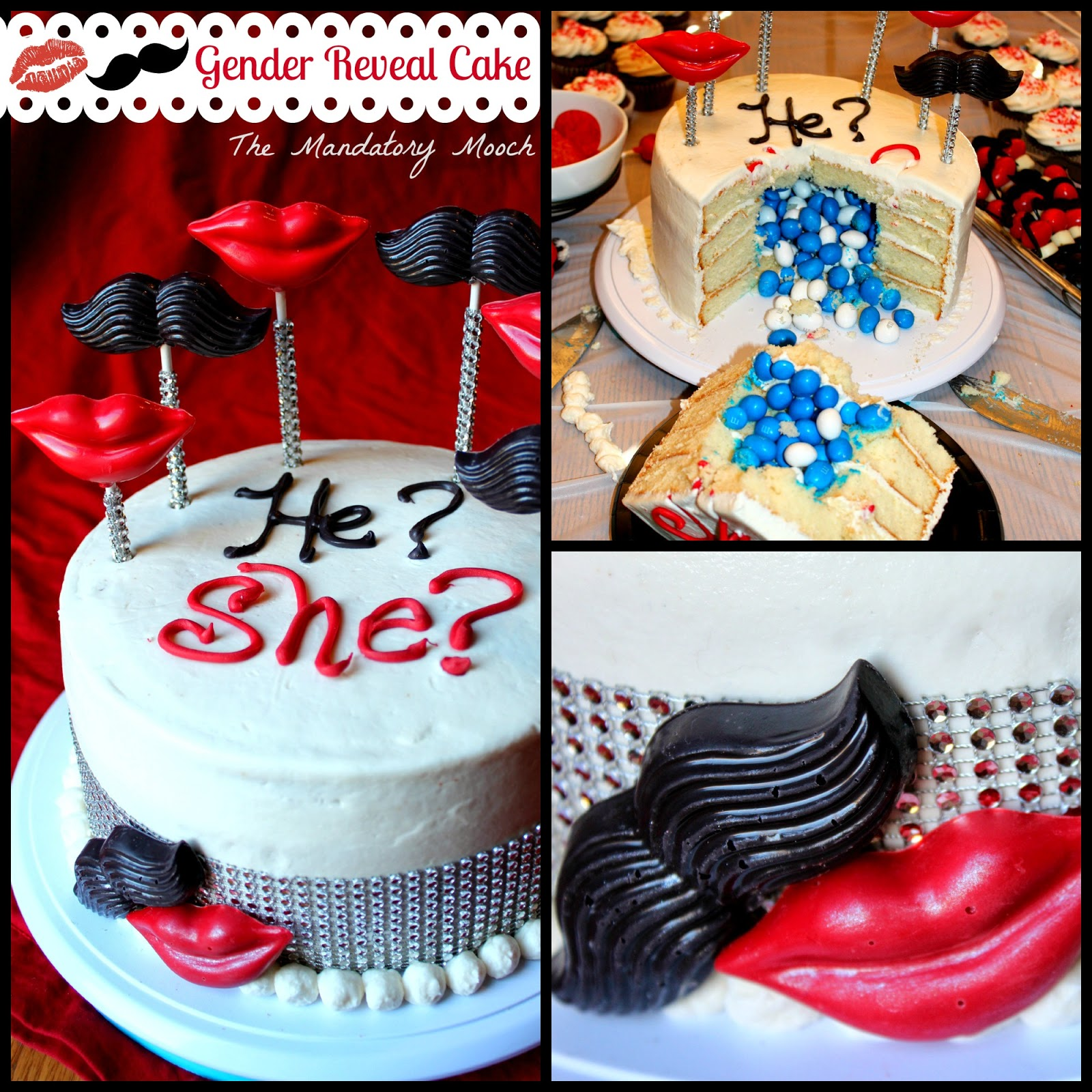 The Mandatory Mooch Gender Reveal Cake Lips And Mustaches