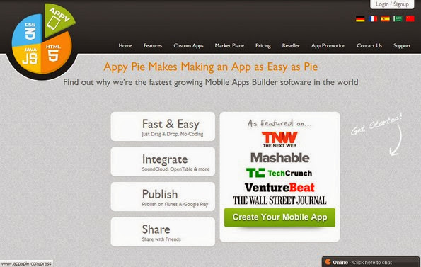Appy Pie software to create Android apps