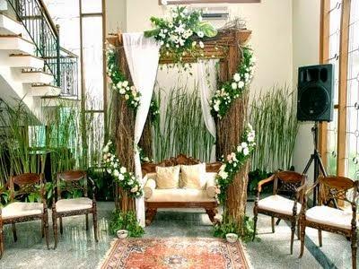 inspirasi desain dekorasi pelaminan di dalam rumah