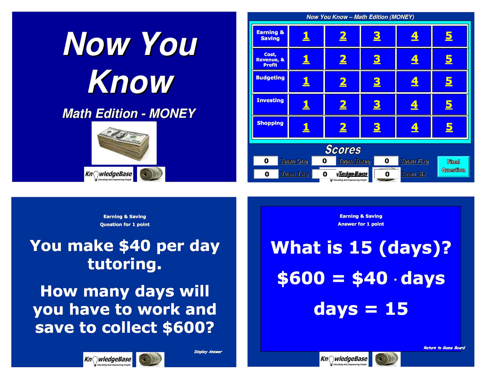Reach then teach now you know math edition money now you know httpbitnykmoney is a gameshow played using a powerpoint template in the tradition of jeopardy alramifo Gallery