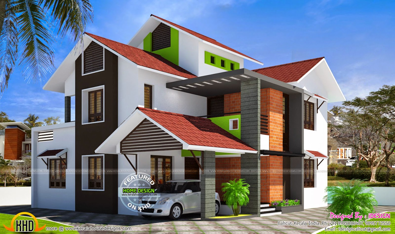 Kerala contemporary modern slope roof villa kerala home for Kerala home designs contemporary
