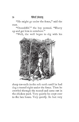 A scanned page from Wolf Story by William McCleery, illustrated by Warren Chappel