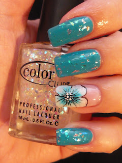 its all about nails nail art 'blue flower  diamonds'