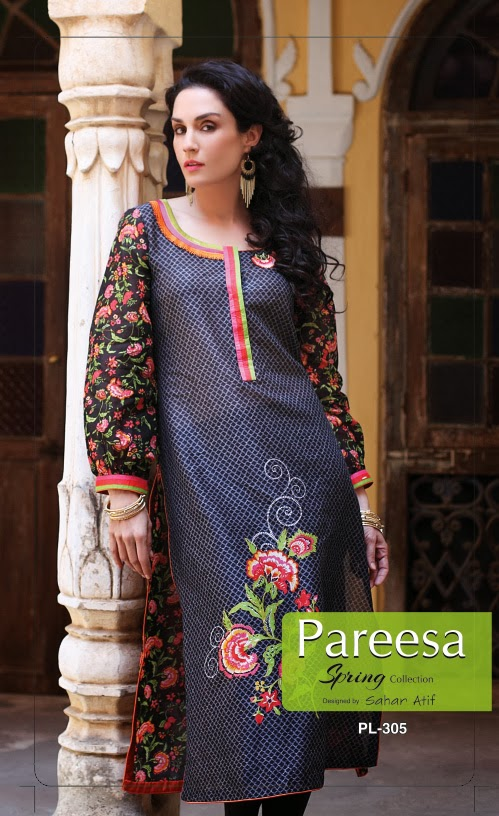pareesa lawn dresses by chen one 2014