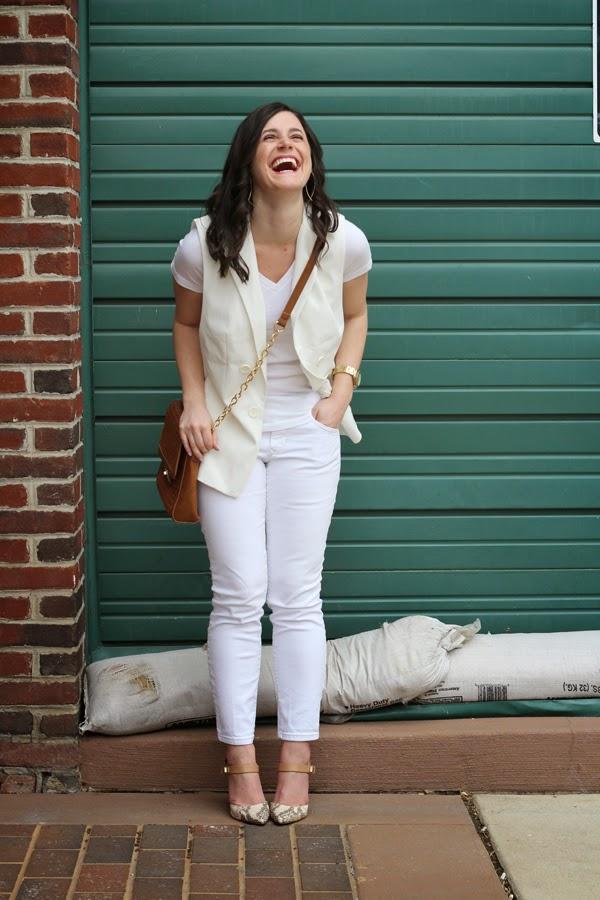 White, all white, Target vest, white Target vest, Gap jeans, white Gap jeans, Target v neck tee, Target tee, white tee, snakeskin heels, BCBGeneration heels, tan