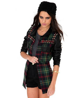 Little Mix, Jade Thirlwall, Missguided, Checked, Tartan, Jacket, Faux Leather Sleeves, Spike Detail, Stud Detail, Pockets, Shoulders, Gold, Black, Red, Green, Blue