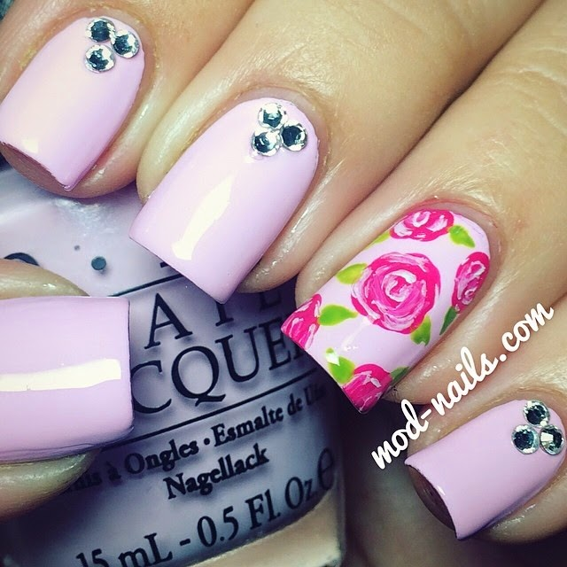 Rose Nail Art Tutorial: ModNails: ROSE NAIL ART TUTORIAL