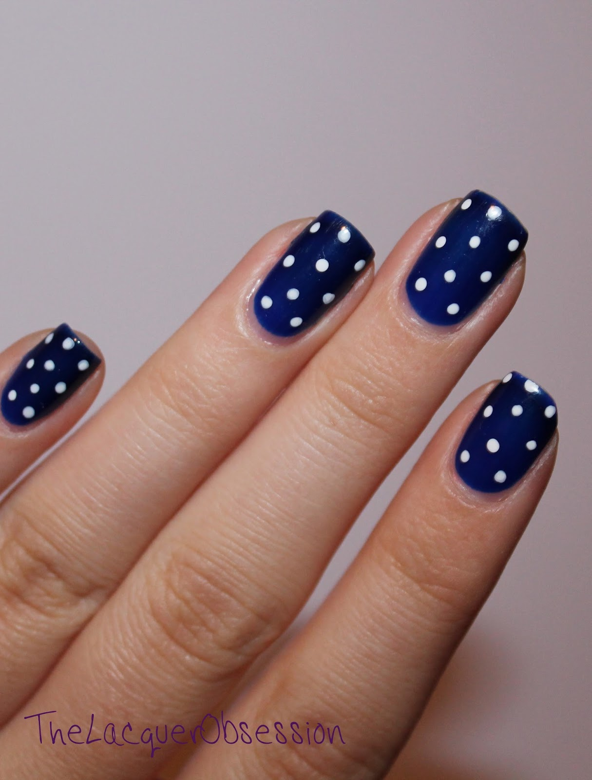 The Lacquer Obsession: Navy and White Polka Dots