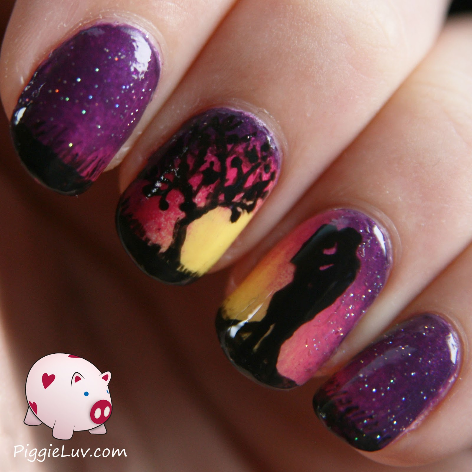 PiggieLuv: Romantic sunset nail art