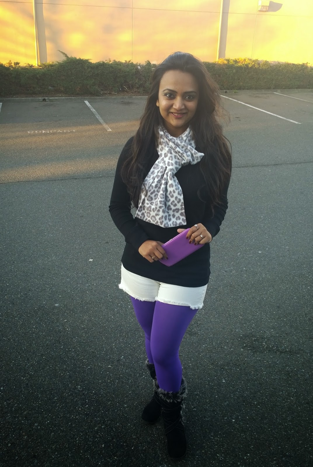 how to wear shorts in winter, white shorts and leopard print scarf, Indian fashion blogger, Winter styling