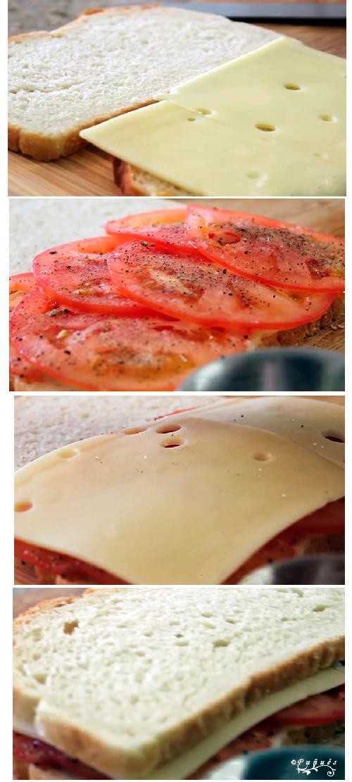 sandwiches, sandwich, tomate,  a la plancha, queso, recetas caseras, receta, recetas,