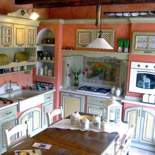 Imbiancare casa idee idee per imbiancare le pareti di una cucina country o di una taverna rustica - Colorare una cucina ...