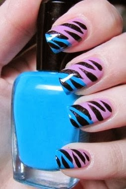 Fantastic Zebra Pattern Nail Tips Design