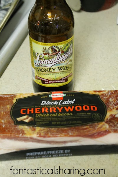 Check out this man-friendly #recipe for Beer-Candied Bacon - paired a honey weiss with cherrywood smoked thick-cut #bacon
