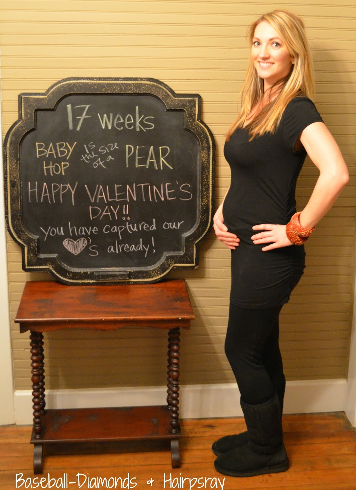 17 weeks belly pregnant chalkboard