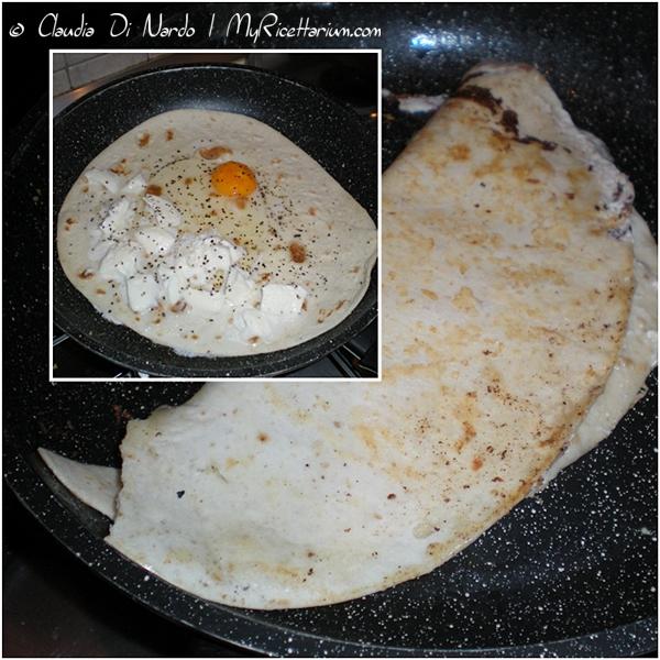Piadina con uovo e mozzarella