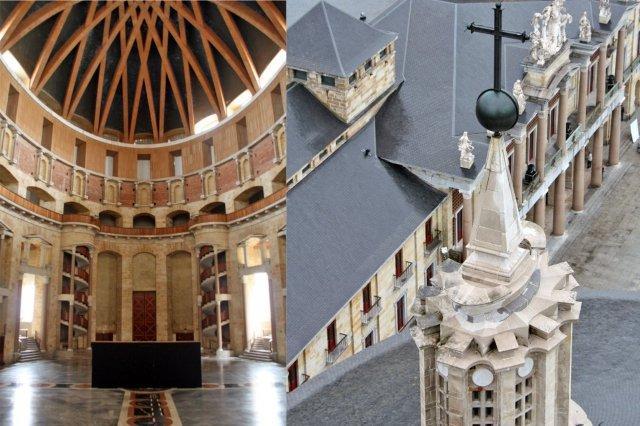 Interior y cupula de la Iglesia de la Universidad Laboral de Gijon y Vistas de la Iglesia desde la Torre