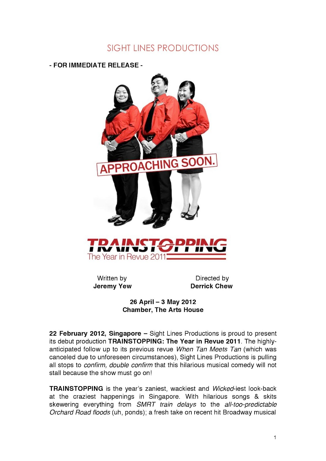 My take on Singapore Theatre & Stuff ..: Trainstopping : Press Release