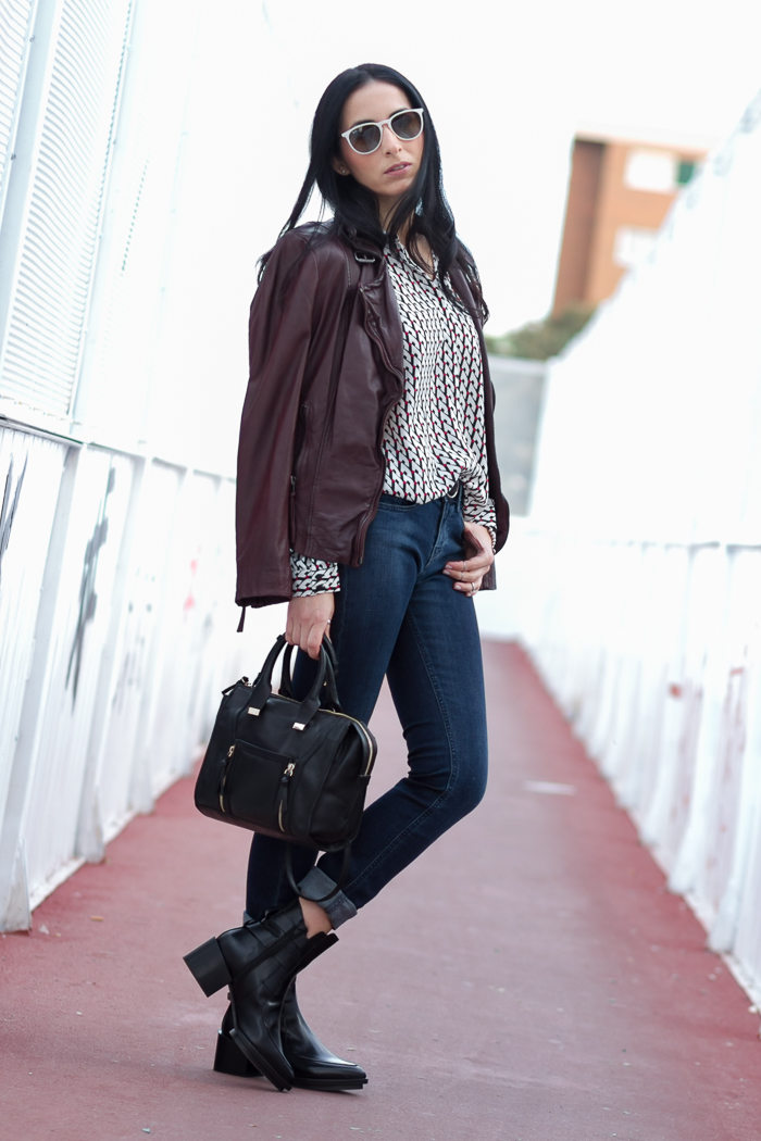 Look Outfit with Reval leather biker jacket in burgundy oxblood color by Muuubaa fashion blogger withorwithoutshoes