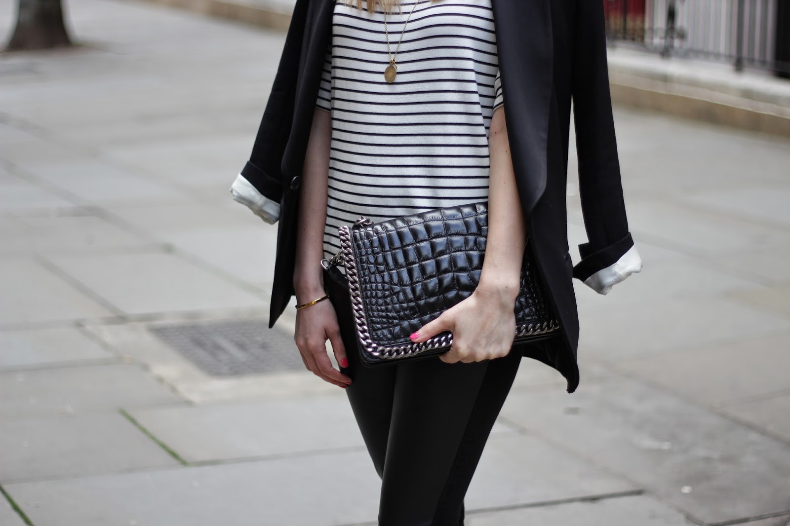 zara croco city bag, striped top, boyfriend blazer, monica vinader, chrissabella