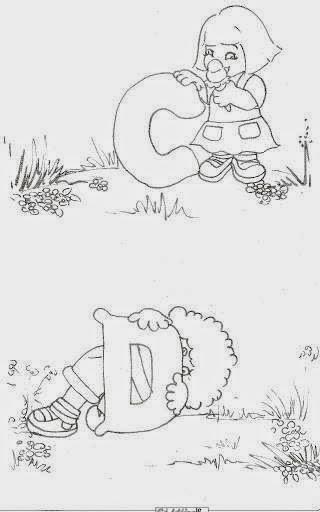 desenho de alfabeto das crianças C e D