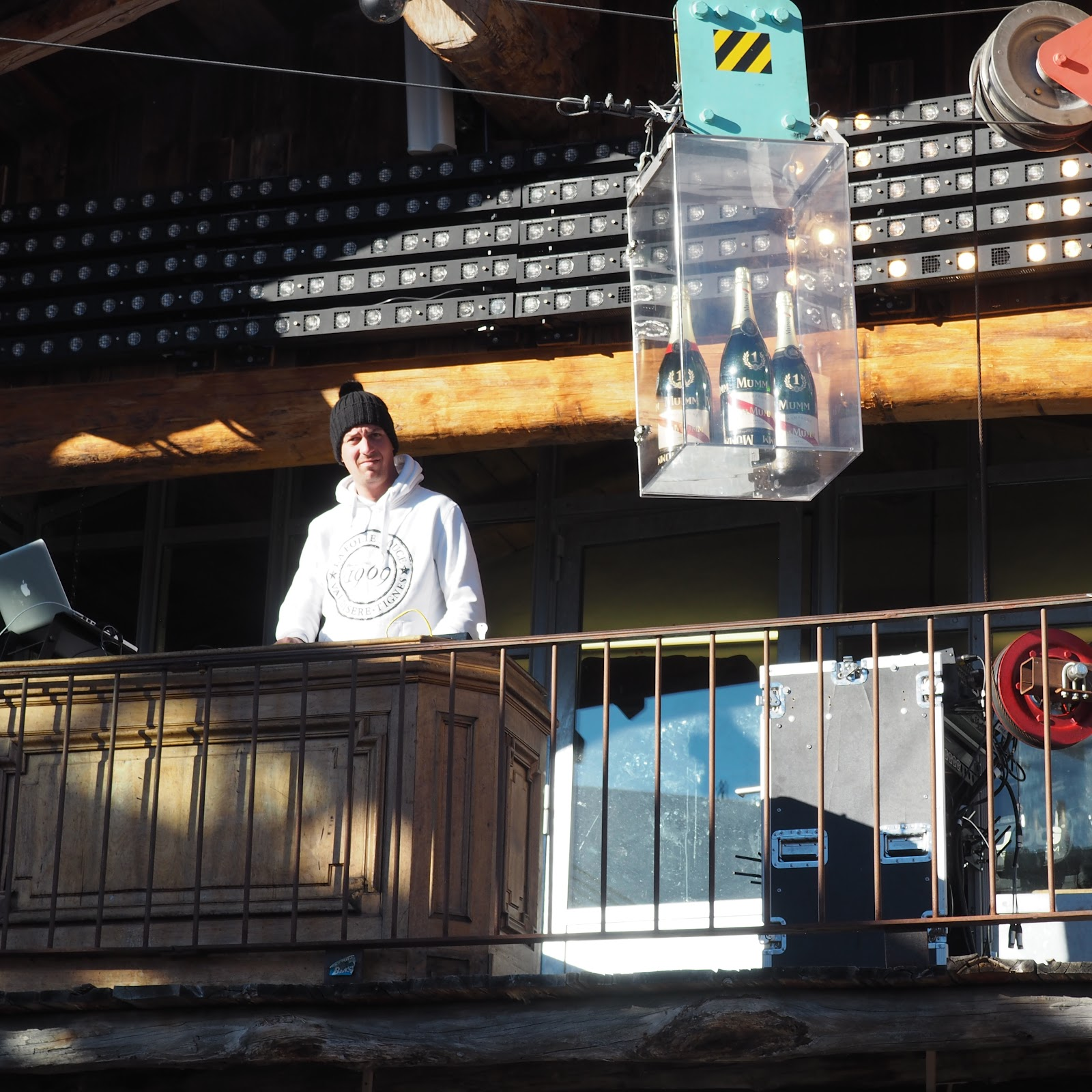DJ and champagne, La Folie Douce, Val d'Isere, France