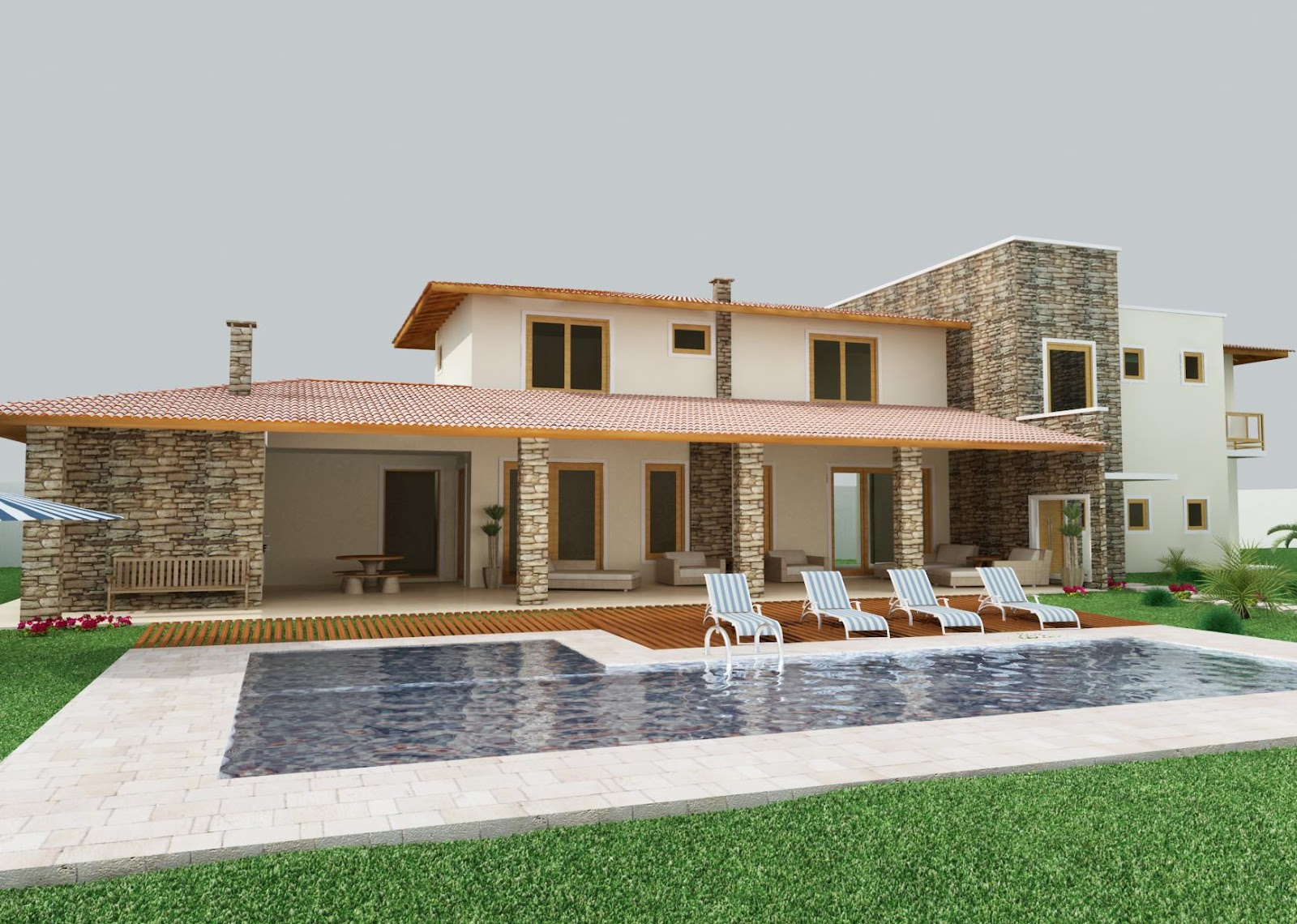 Maquete eletr nica fachada casa de campo arq n dia for Fachadas de casas de campo