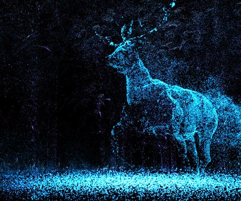 A Light in Chorus. Beutiful blue on black particle cum x-ray image of a ghostly stag running through a forest.