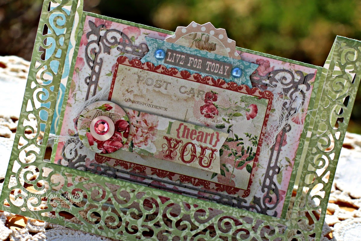 I Heart You step card featuring Garden Journal Collection by BoBunny designed by Rhonda Van Ginkel
