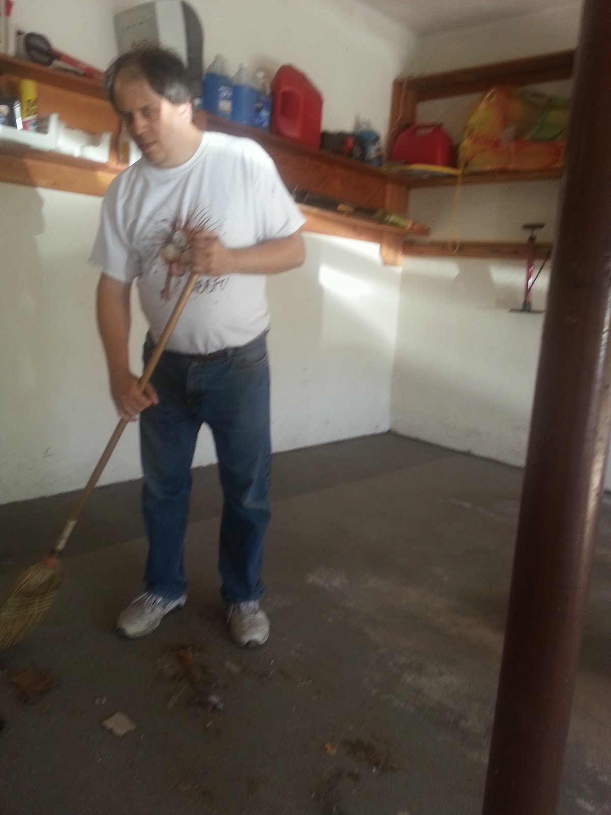 Sweeping out the garage