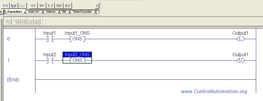 Plc one shot instruction control automation controllogix oneshot ladder example ccuart Images