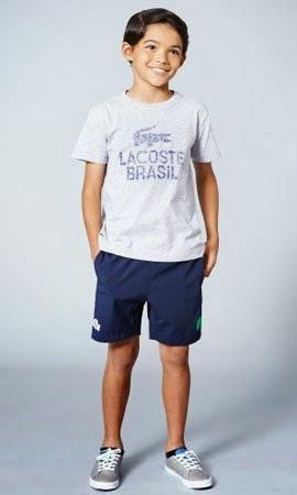 camiseta e bermuda infantil Lacoste Rio coleção para a Copa do Mundo 2014