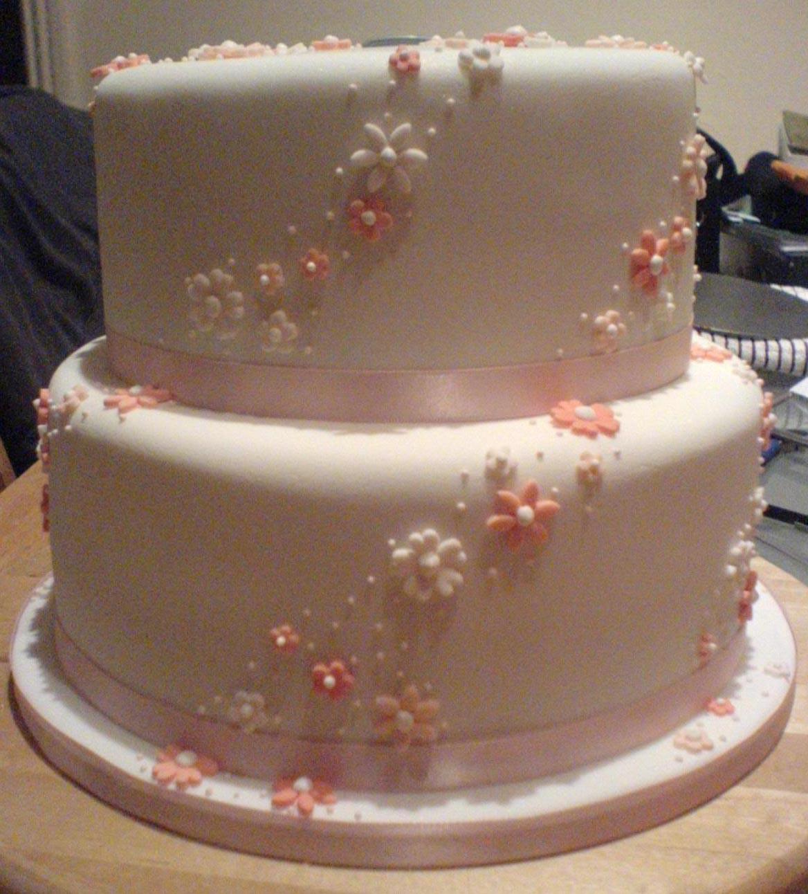 Cozzmic Cakes Two Tier Wedding Cake Pink Flowers