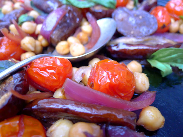 UndomestiKATEd: Roasted baby aubergines with chick peas and cumin