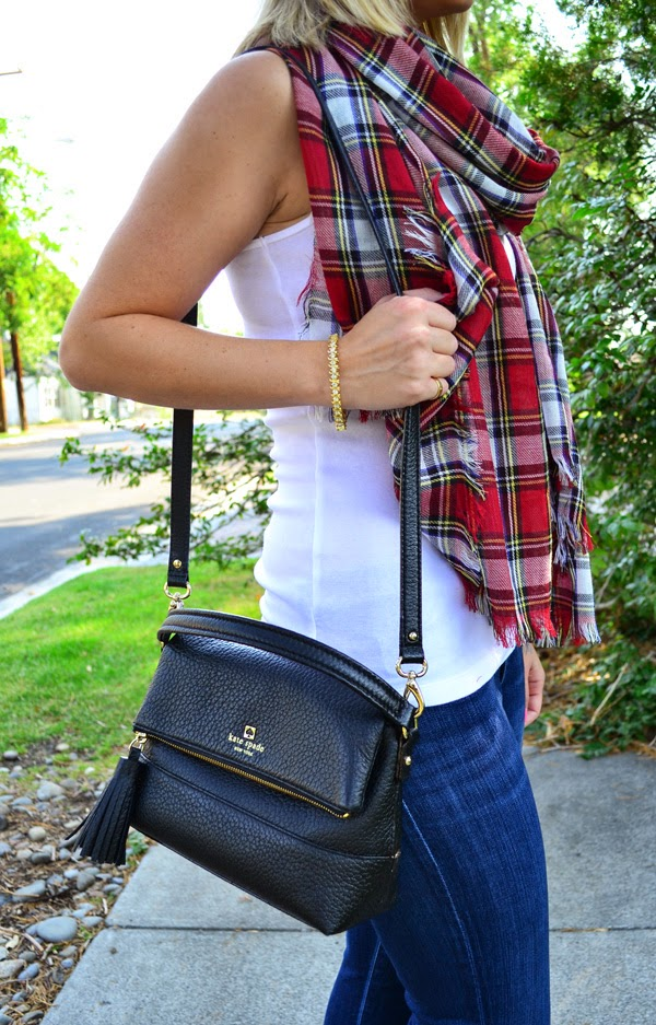 tartan scarf, fashion blogger, style blog, skinny jeans, shoemint shoes, kate spade purse