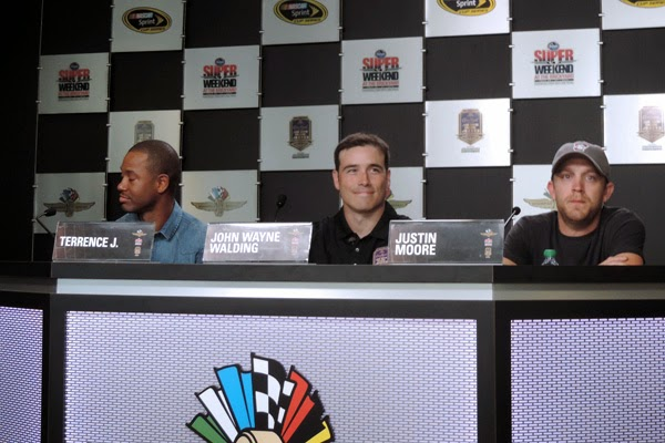 Terrence J, an American actor, television personality and model, John Wayne Walding, race name recipient, and Justin Moore, country music singer and songwriter signed to Big Machine Records interviewed at Indianapolis Motor Speedway.